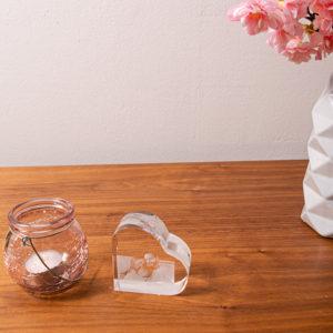Foto im Herz aus Kristallglas L