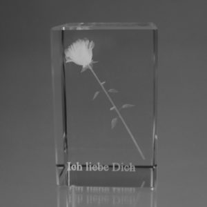 Rose im Glasblock mit Text