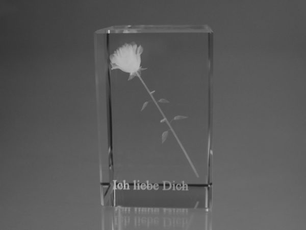 """Rose"" im Glasblock mit Text"