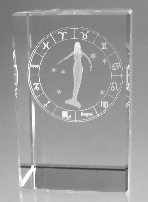 Sternzeichen Jungfrau in Kristallglas gelasert