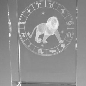 Sternzeichen Löwe in Kristallglas gelasert