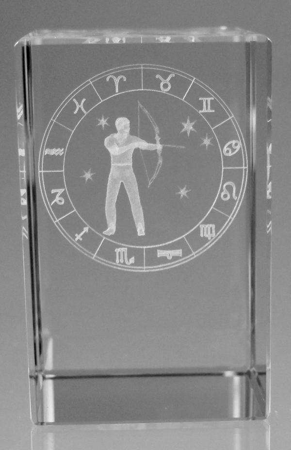 Sternzeichen Schütze in Kristallglas gelasert
