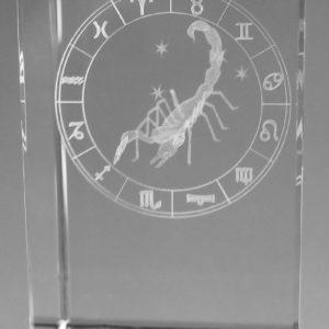 Sternzeichen Skorpion in Kristallglas gelasert