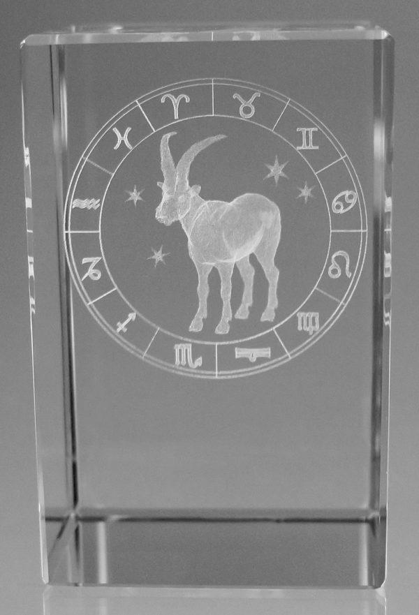 Sternzeichen Steinbock in Kristallglas gelasert