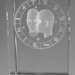 Sternzeichen Zwilling in Kristallglas gelasert