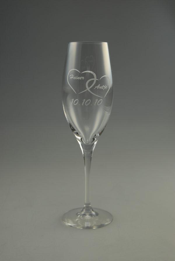 Hochzeits Champagnerglas mit Name und Datum (2er Set)