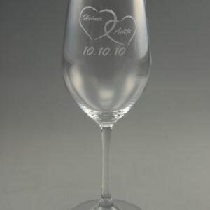Hochzeits Rotweinglas mit Name und Datum (2er Set)