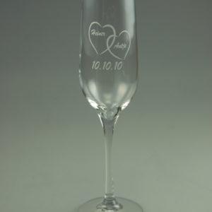 Hochzeits Sektglas mit Name und Datum (2er Set)